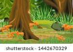 spruce forest in the fall. tall ... | Shutterstock .eps vector #1442670329