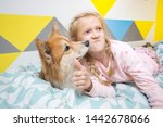 funny photos of girls and dogs. ... | Shutterstock . vector #1442678066