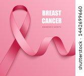 realistic pink ribbon. symbol... | Shutterstock .eps vector #1442699660