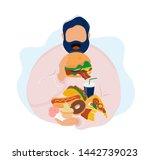 Fat Man Eating Burger And...