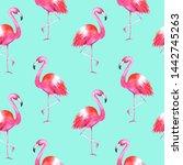 hand drawn watercolor flamingos ...   Shutterstock . vector #1442745263