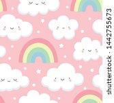 cloud pattern  cute cloud... | Shutterstock .eps vector #1442755673