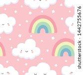cloud pattern  cute cloud... | Shutterstock .eps vector #1442755676