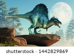 A Spinosaurus On A Cliff By Th...