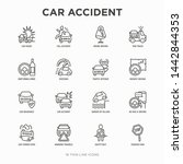 car accident thin line icons... | Shutterstock .eps vector #1442844353
