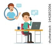 man talking to it support on... | Shutterstock .eps vector #1442852006
