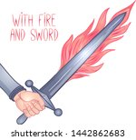 with sword and fire. hand... | Shutterstock .eps vector #1442862683