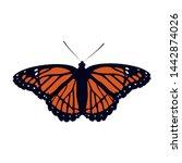 realistic butterfly in orange...   Shutterstock .eps vector #1442874026