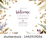 fall herbal vector frame. hand... | Shutterstock .eps vector #1442919056