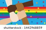 lgbt hand  group participate... | Shutterstock .eps vector #1442968859
