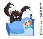 kids having bad dream vector... | Shutterstock .eps vector #1442994209