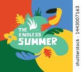 slogan endless summer on bright ...   Shutterstock .eps vector #1443007163