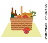 vector illustration with wicker ... | Shutterstock .eps vector #1443025229