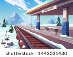 railway station at mountains... | Shutterstock .eps vector #1443031430