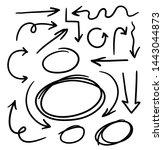 doodle set of arrow hand drawn... | Shutterstock .eps vector #1443044873