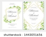 wedding invitation with green... | Shutterstock .eps vector #1443051656