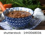 goulash soup with pork and... | Shutterstock . vector #1443068036