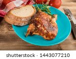 pieces of roast chicken on a... | Shutterstock . vector #1443077210