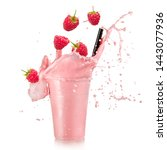 fresh raspberry smoothie splash ... | Shutterstock . vector #1443077936