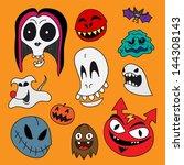 vector halloween characters set....   Shutterstock .eps vector #144308143