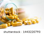 Vitamin d 3 capsules in bottle. ...