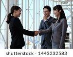 multiple people in suits... | Shutterstock . vector #1443232583