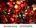 top view of christmas lights...   Shutterstock . vector #144326896