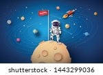 astronaut with flag on the moon ...   Shutterstock .eps vector #1443299036