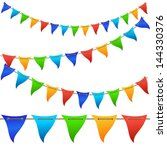 colorful bunting flags. vector.   Shutterstock .eps vector #144330376