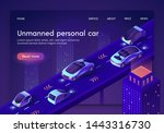 unmanned personal car neon... | Shutterstock .eps vector #1443316730