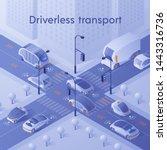 driverless transport banner.... | Shutterstock .eps vector #1443316736