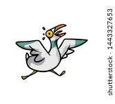 crazy and scared seagull bird... | Shutterstock .eps vector #1443327653