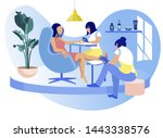 woman visiting beauty salon ... | Shutterstock .eps vector #1443338576