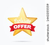 exclusive offer shopping ribbon ... | Shutterstock .eps vector #1443355559