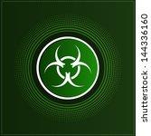 button with biohazard symbol | Shutterstock .eps vector #144336160