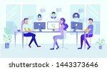 call center office people work. ... | Shutterstock .eps vector #1443373646