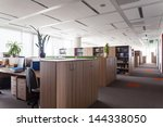work place in the huge office... | Shutterstock . vector #144338050