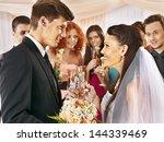 happy group people drinking... | Shutterstock . vector #144339469