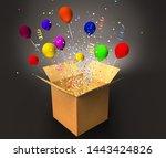 open magic box with confetti... | Shutterstock . vector #1443424826