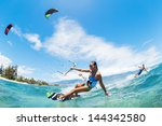 kite boarding  fun in the ocean ... | Shutterstock . vector #144342580