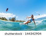 kite boarding  fun in the ocean ... | Shutterstock . vector #144342904
