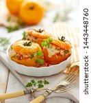 stuffed tomatoes  baked yellow...   Shutterstock . vector #1443448760