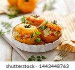 stuffed tomatoes  baked yellow...   Shutterstock . vector #1443448763