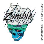 Cartoon Zombie Skull With...