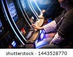 Casino Slot Gamblers. People Playing Video Slot Machines  - stock photo