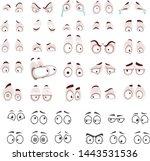 vector cute cartoon eyes.... | Shutterstock .eps vector #1443531536