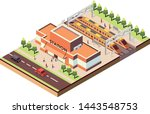 isometric railway station  ... | Shutterstock .eps vector #1443548753