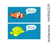 reef fishes say hello. colorful ... | Shutterstock .eps vector #1443562229