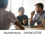 indian and caucasian colleagues ... | Shutterstock . vector #1443613703
