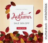autumn background sale layout... | Shutterstock .eps vector #1443650666